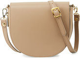 Neiman Marcus Leather Zip-Gusset Saddle Bag, Taupe