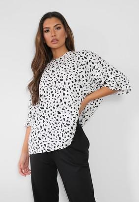 Missguided Petite White Dalmatian Print Oversized T Shirt