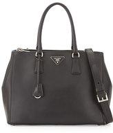Prada City Calfskin Bicolor Double-Zip Galleria Tote Bag, Black/Blue (Nero+Celeste)