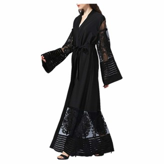 zhxinashu Lady Maxi Dress Cardigan Clothes - Muslim Islamic Robes Women Long Skirt Full Sleeves Dubai Abaya Prayer Coat Black M