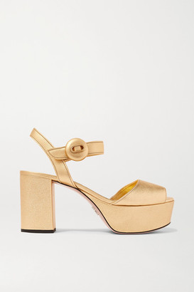 Prada 85 Metallic Textured-leather Platform Sandals - Gold