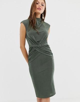 Asos Design DESIGN drape front wrap front belted midi dress-Green
