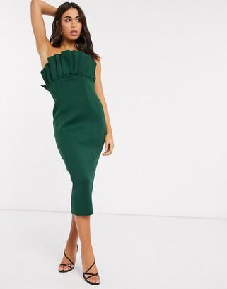 ASOS DESIGN bandeau fan front midi dress in forest green