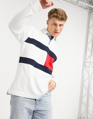 Tommy Hilfiger iconic reissue large flag long sleeve rugby polo in white
