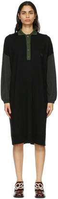 Loewe Black Wool Anagram Oversized Polo Dress