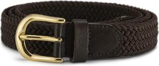 STREEZE Ladies Elastic Fabric Braided Stretch Belt. 1 inch Wide with Gold Buckle (Medium 33-inch - 35-inch