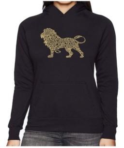 LA Pop Art Women's Word Art Hooded Sweatshirt -Lion