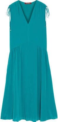 Max Mara Palma Gathered Silk Crepe De Chine Midi Dress