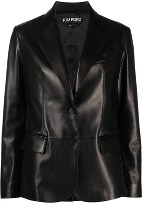 Tom Ford Single-Breasted Leather Blazer