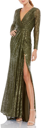 Mac Duggal Sequined Long-Sleeve Thigh-Slit Gown