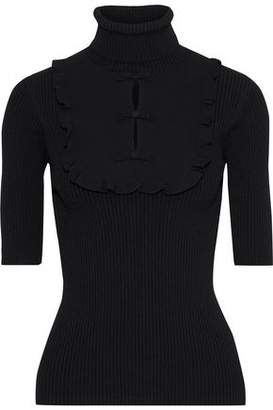 Valentino Ruffle-trimmed Cutout Ribbed-knit Turtleneck Top