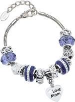 Golden Moon Women's Bracelets Purple - Purple Austrian Crystal & Stainless Steel 'Love Mom' Charm Bracelet