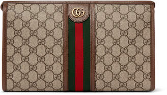 Gucci Ophidia Leather And Webbing-Trimmed Logo-Jacquard Coated-Canvas Wash Bag
