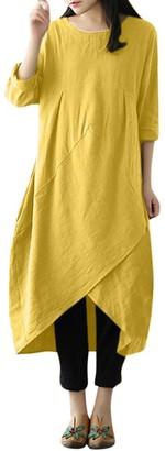Kobay Dresses for Women v Neck t Shirt Dress Short Sleeve a line midi Dress Ladies Casual Button Down Skater Dress with Pockets Women's Dresses Summer Navy