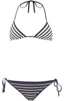 Valentino Striped Triangle Low-rise Bikini - Womens - Navy Multi