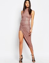 Club L High Neck Metallic Rib Turn Up Dress