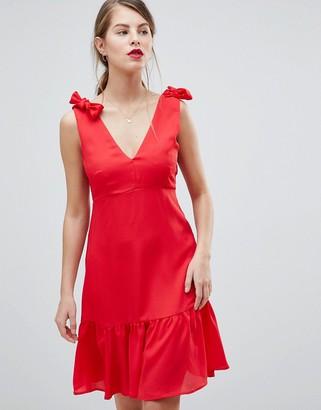 Vila Peplum Hem Mini Dress With Bow Detail Straps-Pink