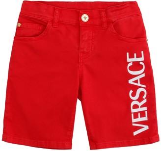 Versace Logo Print Cotton Shorts