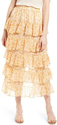 MinkPink Lana Tiered Midi Skirt