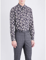 The Kooples Floral-pattern Slim-fit Cotton-twill Shirt