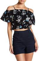 ENGLISH FACTORY Magnolia Print Cold Shoulder Cropped Blouse