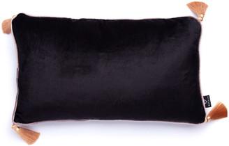 Bivain Black Velvet Rectangular Cushion With Tassels