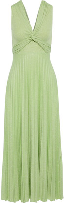 M Missoni Twist-front Pleated Metallic Ribbed-knit Maxi Dress