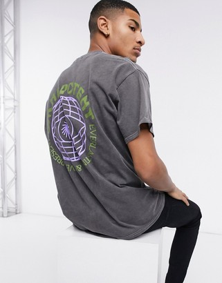 New Look oversized t-shirt with globe back print in gray