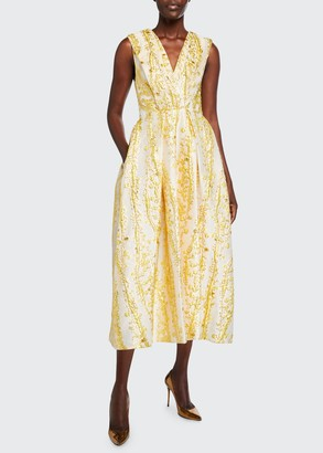 Monique Lhuillier V-Neck Sleeveless Brocade Midi Dress