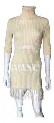 Plein Sud Jeans Ecru Wool Dress for Women