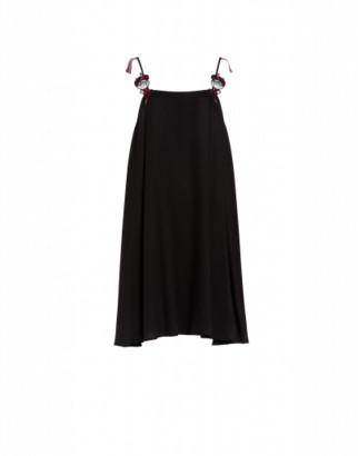 Love Moschino Flag Waver Dolls Viscose Twill Dress Woman Black Size 38 It - (4 Us)