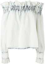 MSGM off-the-shoulder ruffle top - women - Cotton - 40