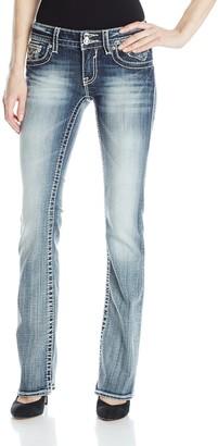 Vigoss Women's Medium Wash Chelsea Bootcut Jean with Sequin and Lurex Embellishment