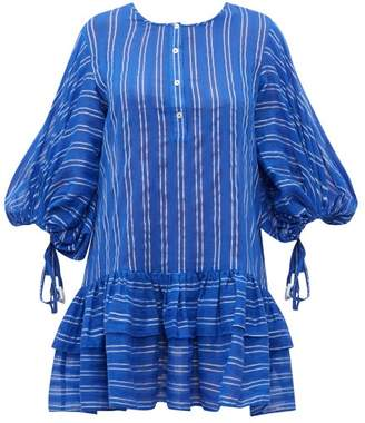 Binetti Love Stir It Up Striped Cotton Mini Dress - Womens - Blue