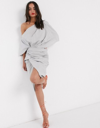 ASOS EDITION drape asymmetric linen midi dress