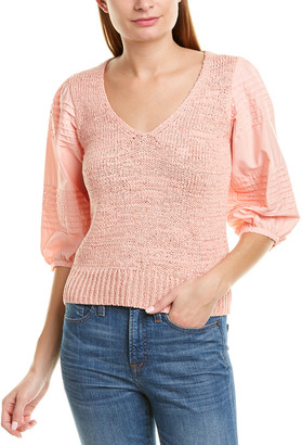 La Vie Rebecca Taylor Poplin Sleeve Pullover