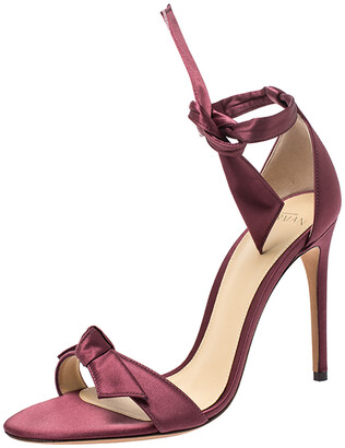 Alexandre Birman Burgundy Satin Clarita Bow Ankle Wrap Sandals Size 38.5