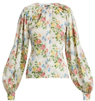 Emilia Wickstead Margot Floral-print Satin Blouse - Pink Print