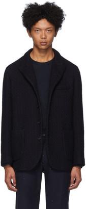 Blue Blue Japan Navy Wool Yukifubuki Stand Up 5-Button Jacket