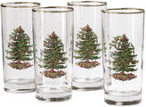 Spode Christmas Tree Set of 4 Gold-Rim Highball Glasses
