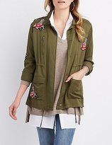 Charlotte Russe Rose Patch Anorak Jacket