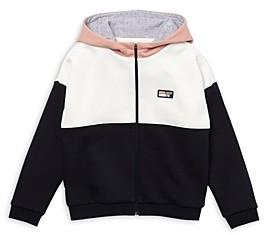Lacoste Girls' Color Blocked Fleece Zip Hoodie - Little Kid, Big Kid