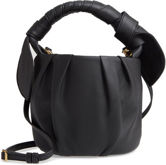 STAUD Dani Pleated Leather Top Handle Bucket Bag