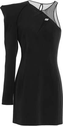 Thierry Mugler One-shoulder Tulle-paneled Scuba Mini Dress