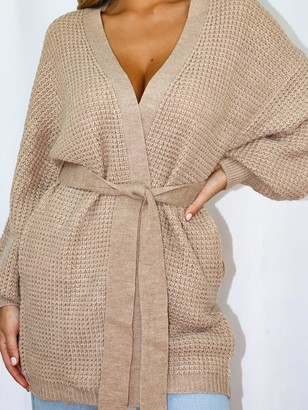 Missguided Belted Balloon Sleeve Cardigan - Stone