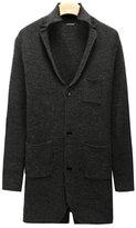 Fashionback Men's V Neck European Style Buttons Up Ribbed Hem Cardigan