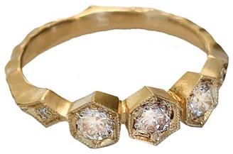 Cathy Waterman Apricot Diamond Triple Hexagonal Yellow Gold Ring