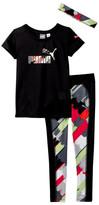Puma Graphic Tee, Printed Legging & Headband Set (Little Girls)
