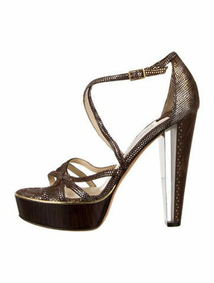 Jimmy Choo Crossover Platform Sandals Brown