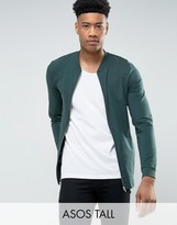 Asos Tall Lightweight Muscle Jersey Bomber Jacket In Green